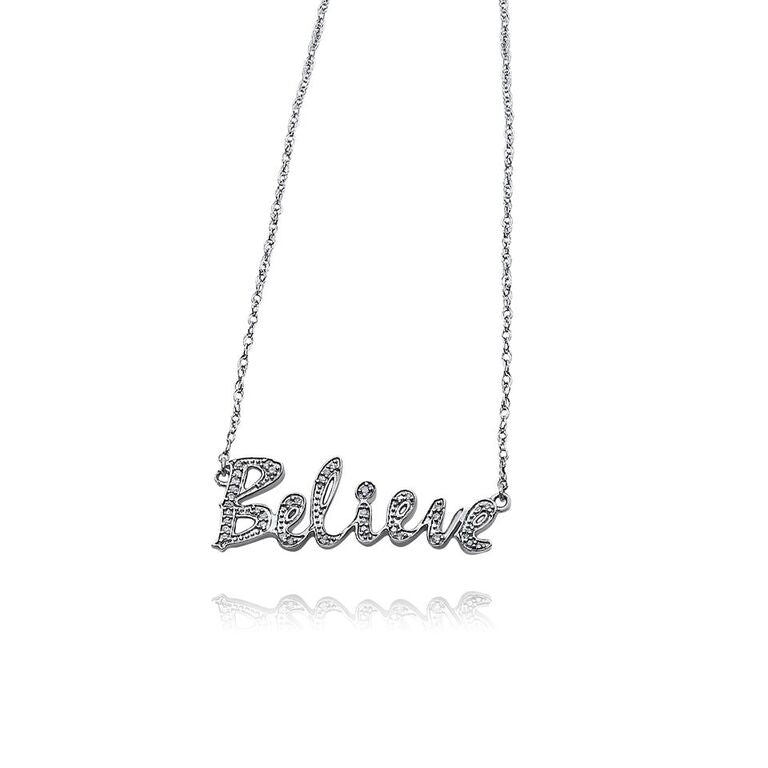 "STERLING SILVER ""BELIEVE"" NECKLACE 