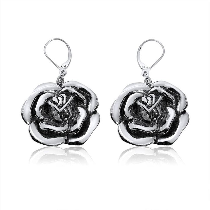 STERLING SILVER ROSE DANGLE EARRINGS