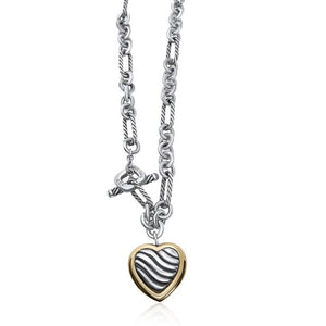 STERLING SILVER/ 18K YELLOW GOLD DAVID YURMAN HEART TOGGLE NECKLACE | Neil's Jewellery and Exchange fine silver necklaces, high quality estate silver necklaces, sterling silver fashion necklaces