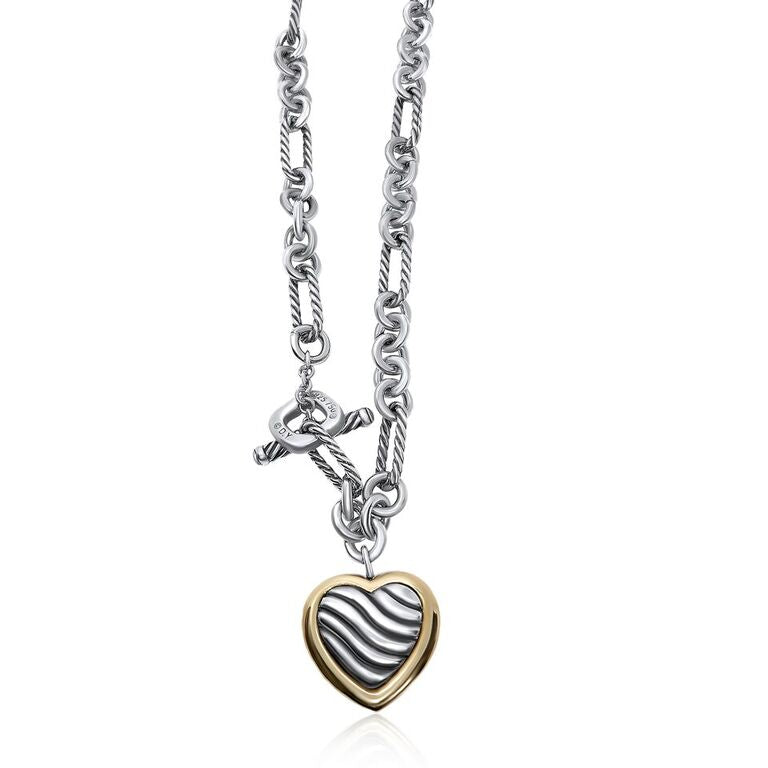 STERLING SILVER/ 18K YELLOW GOLD DAVID YURMAN HEART TOGGLE NECKLACE