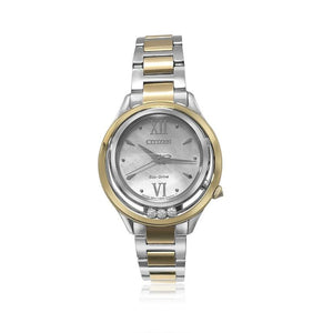 LADIES CITIZEN ECO-DRIVE WATCH WITH 3 DIAMONDS