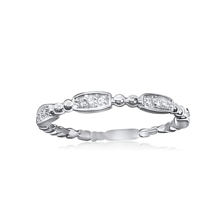14K WHITE GOLD STACKABLE RING .09CT DIAMONDS