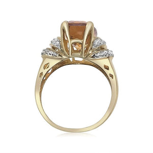 14K YELLOW GOLD CITRINE AND PAVE DIAMOND RING