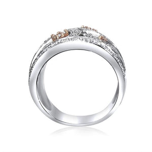 14K WHITE GOLD PAVE DIAMOND 1.00CT SWIRL TRENDY BAND