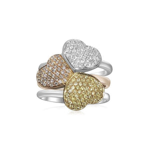 14K TRI-COLOR GOLD PAVE DIAMOND 1.50CT 3 HEART RING | Neil's Jewellery and Exchange fine jewelry gold rings, fine estate jewelry engagement rings, fine diamond gold wedding rings