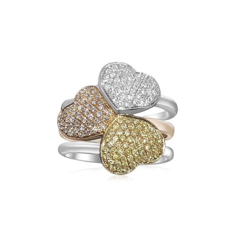 14K TRI-COLOR GOLD PAVE DIAMOND 1.50CT 3 HEART RING