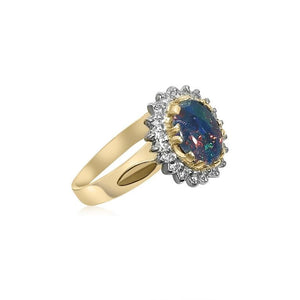18K YELLOW GOLD BLACK OPAL DIAMOND CLUSTER RING