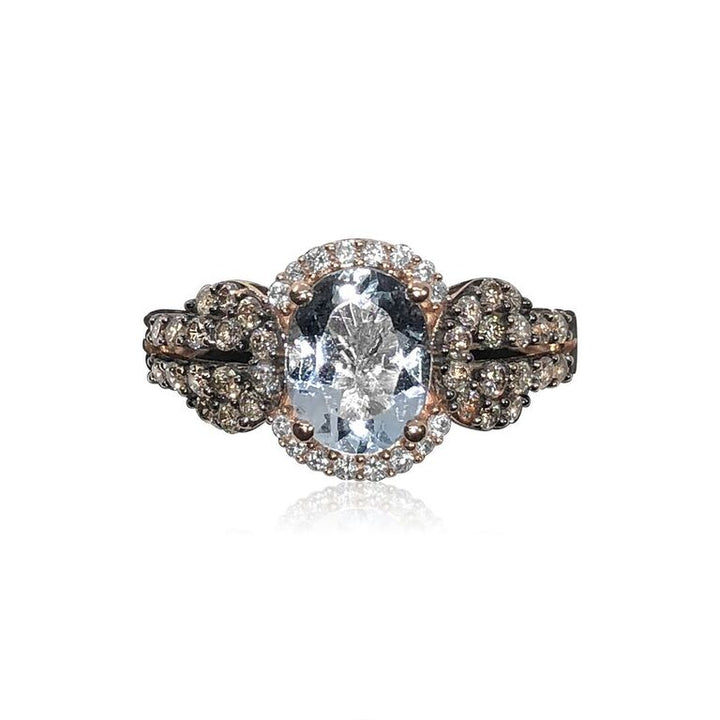 14K ROSE GOLD AQUAMARINE 1.50CT AND DIAMOND .66CT RING