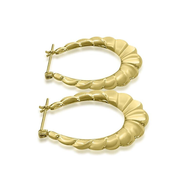 14K YELLOW GOLD PUFFED SHINY HOOP EARRINGS
