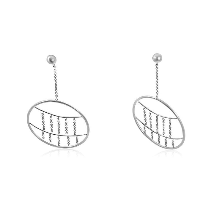 14K WHITE GOLD CIRCLE DANGLE EARRINGS