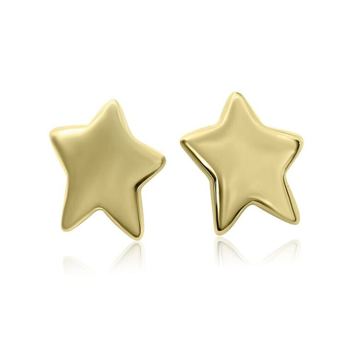 14K YELLOW GOLD HOLLOW SHINY STAR EARRINGS