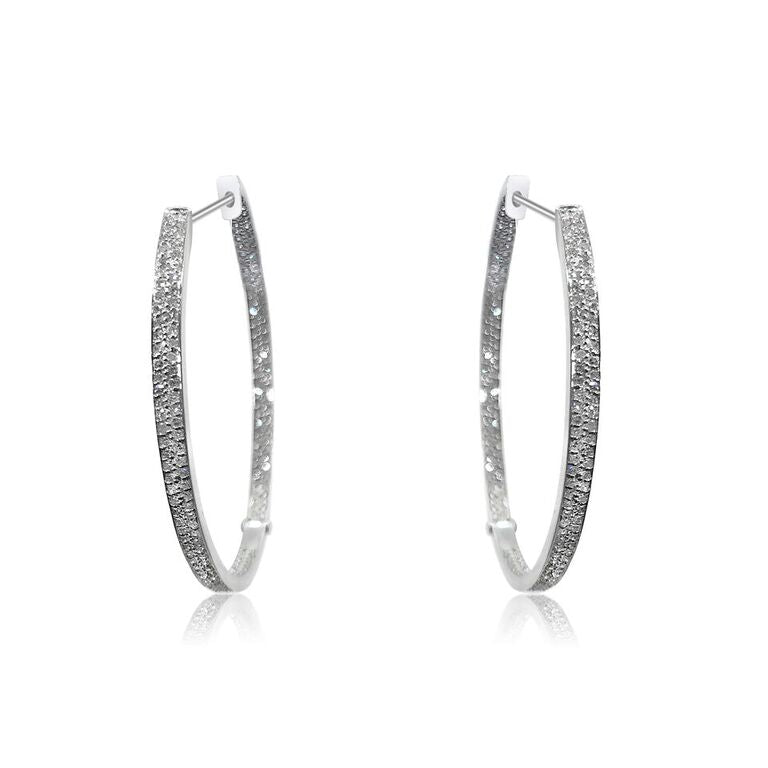 14K WHITE GOLD INSIDE-OUT PAVE DIAMOND 1.50CT HOOP EARRINGS