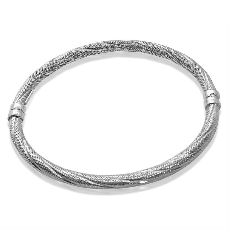 14K WHITE GOLD TEXTURED BANGLE BRACELET