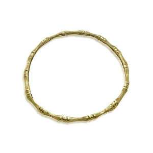 14K YELLOW GOLD BAMBOO STYLE SOLID BANGLE BRACELET