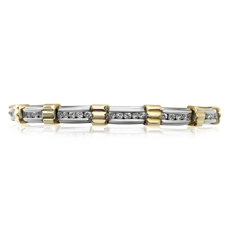 18K TWO-TONE DIAMOND 1.80CT SI CLARITY, H COLOR BAR LINK TENNIS BRACELET