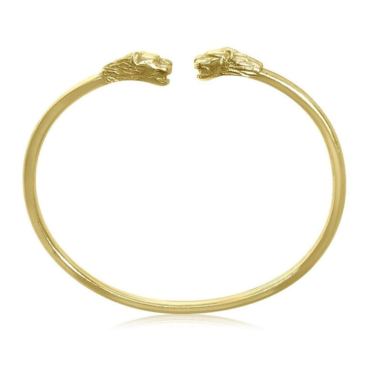 18K YELLOW GOLD DOUBLE LION HEAD BANGLE BRACELET