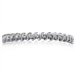 14K WHITE GOLD DIAMOND 2.00CT S-LINK TENNIS BRACELET | Neil's Jewellery and Exchange fine gold fashion bracelets, elegant gold bracelets, 14k gold bracelets, men's gold bracelets