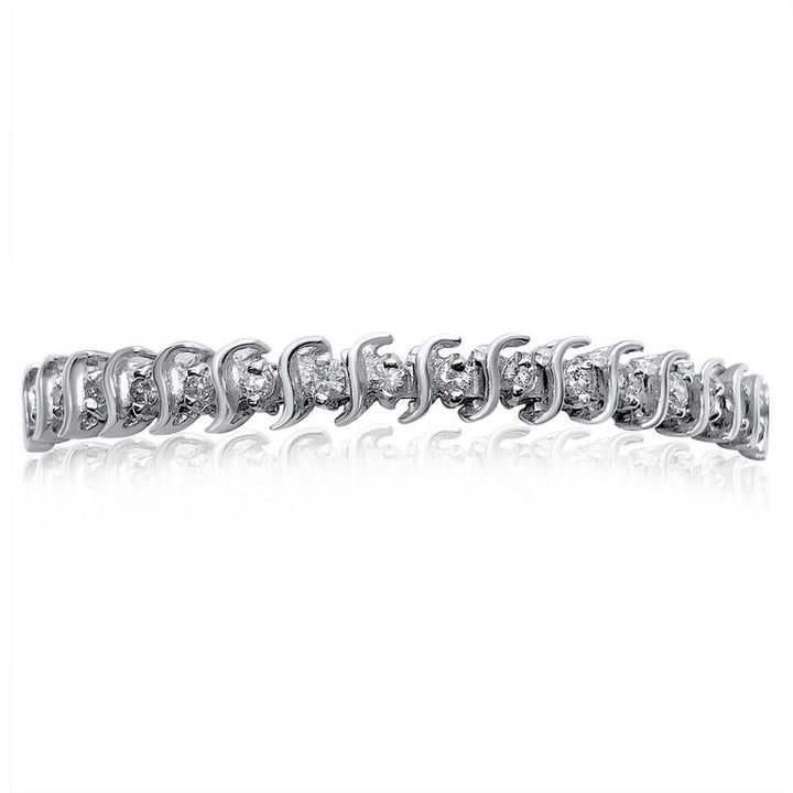 14K WHITE GOLD DIAMOND 2.00CT S-LINK TENNIS BRACELET