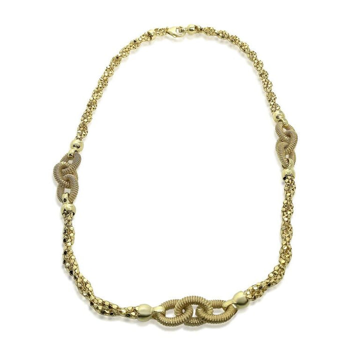14K YELLOW GOLD TWISTED POPCORN CHAIN AND OVAL LINKS NECKLACE