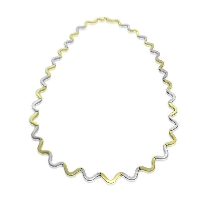 14K TWO-TONE WAVE LINK NECKLACE | Neil's Jewellery and Exchange fine gold necklaces, fine jewelry diamond necklaces, 18k gold necklaces, fine jewelry pearl necklace