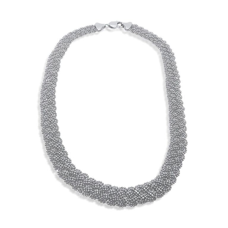 14K WHITE GOLD DIAMOND CUT BEADED MESH NECKLACE