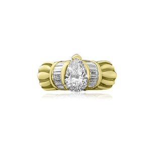 18K YELLOW GOLD PEAR SHAPE DIAMOND 1.11CT, VVS-1 CLARITY, I COLOR, ENGAGEMENT RING