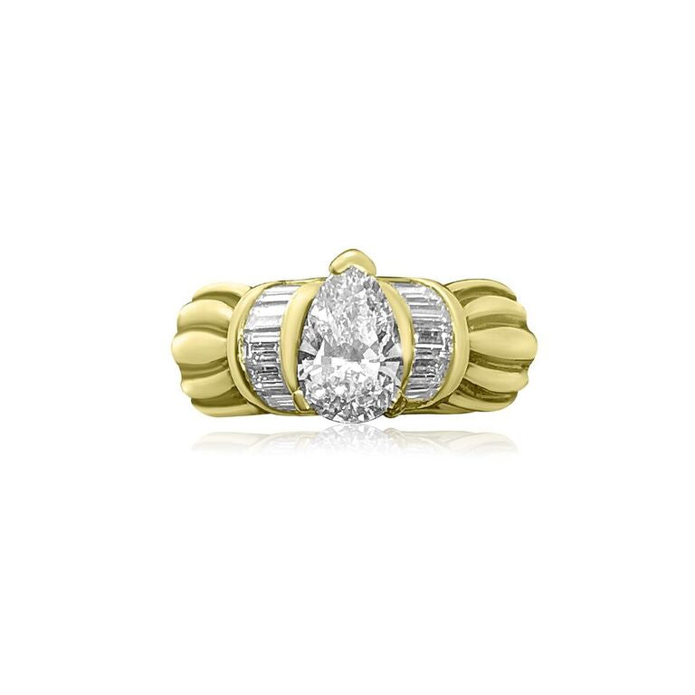 18K YELLOW GOLD PEAR SHAPE DIAMOND 1.11CT, VVS-1 CLARITY, I COLOR, ENGAGEMENT RING | Neil's Jewellery and Exchange unique fine jewelry, contemporary classic jewelry, high end estate jewelry, second hand high end watches,