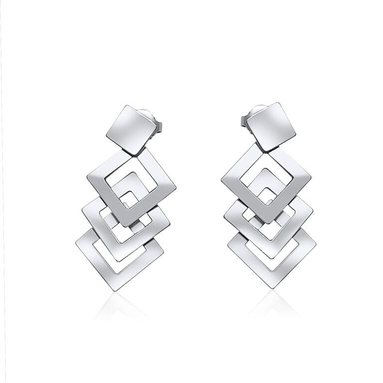 KELIM STERLING SILVER DIAMOND LINK EARRINGS