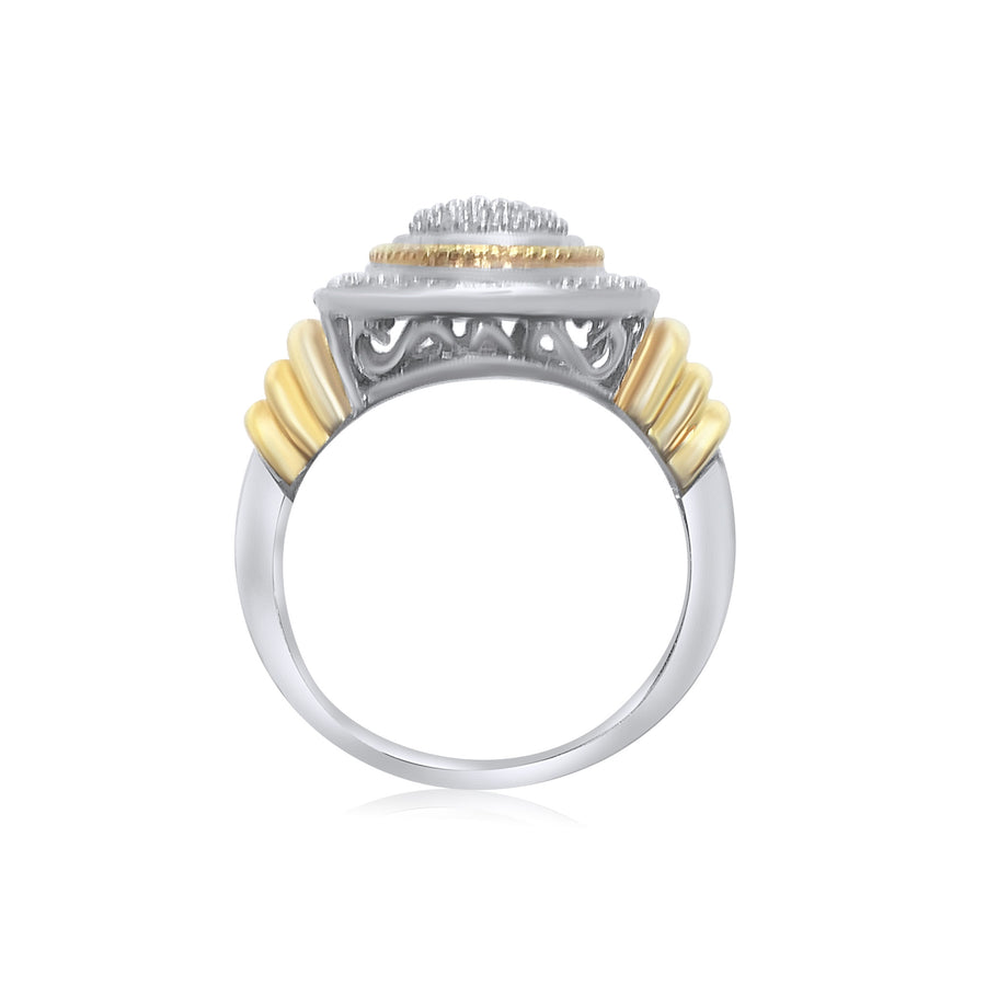 STERLING SILVER 18K YELLOW GOLD ACCENTS DIAMOND PAVE RING
