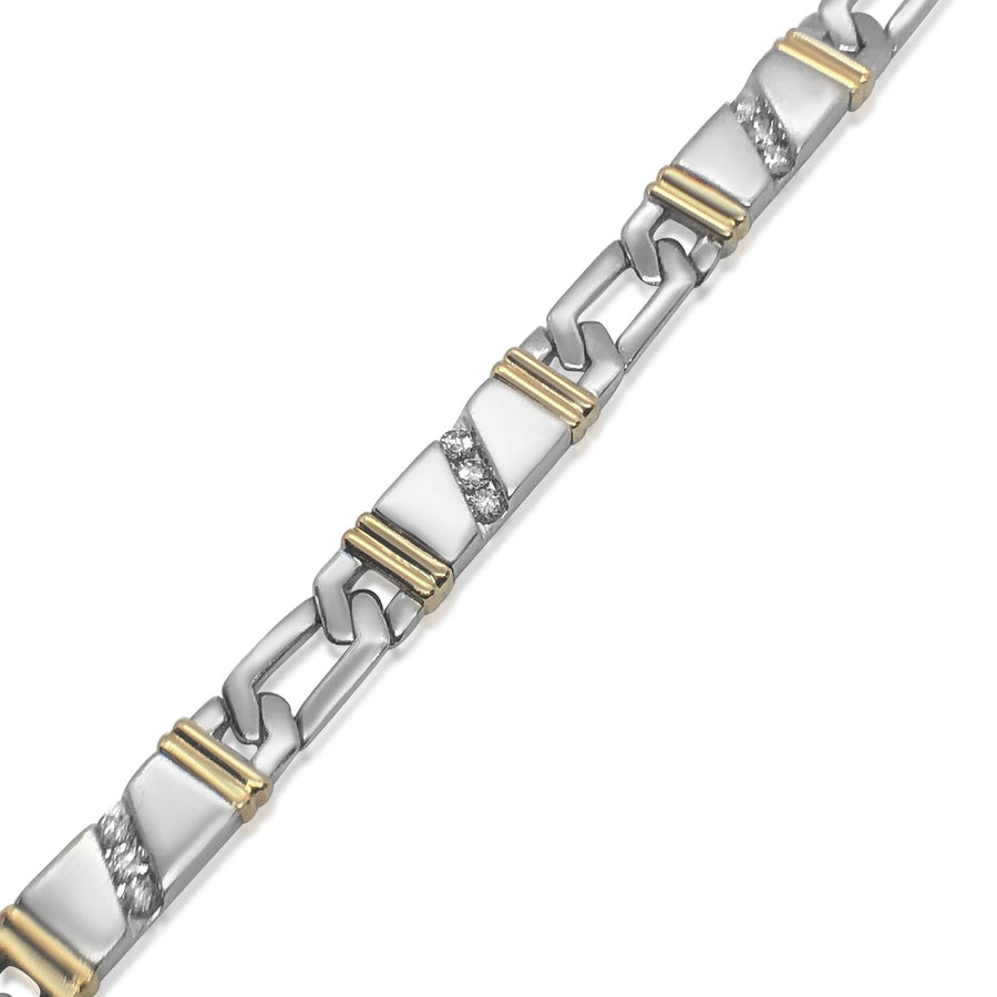 14K TWO-TONE GOLD BRACELET WITH APPROX. 1.00CT DIAMONDS