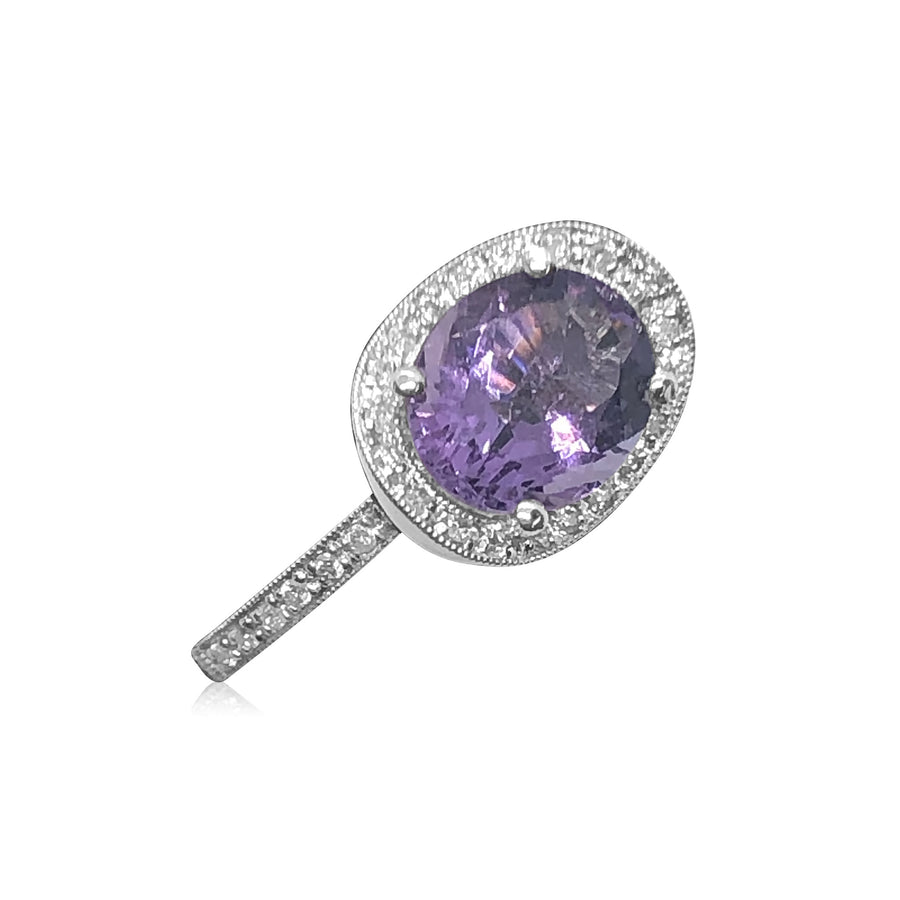 18K White Gold Amethyst and Pave Diamond Ring