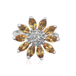 14K White Gold Synthetic Citrine And Congac Diamonds Flower Ring | Neil's Jewellery and Exchange fine jewelry gold rings, fine estate jewelry engagement rings, fine diamond gold wedding rings
