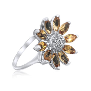 14K White Gold Synthetic Citrine And Congac Diamonds Flower Ring | Neil's Jewellery and Exchange 18k gold rings, estate jewelry gold rings, unique gold wedding rings, exquisite gold engagement rings