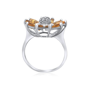 14K White Gold Synthetic Citrine And Congac Diamonds Flower Ring