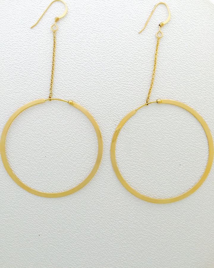 Estate 14K yellow gold chain dangle hoop earrings