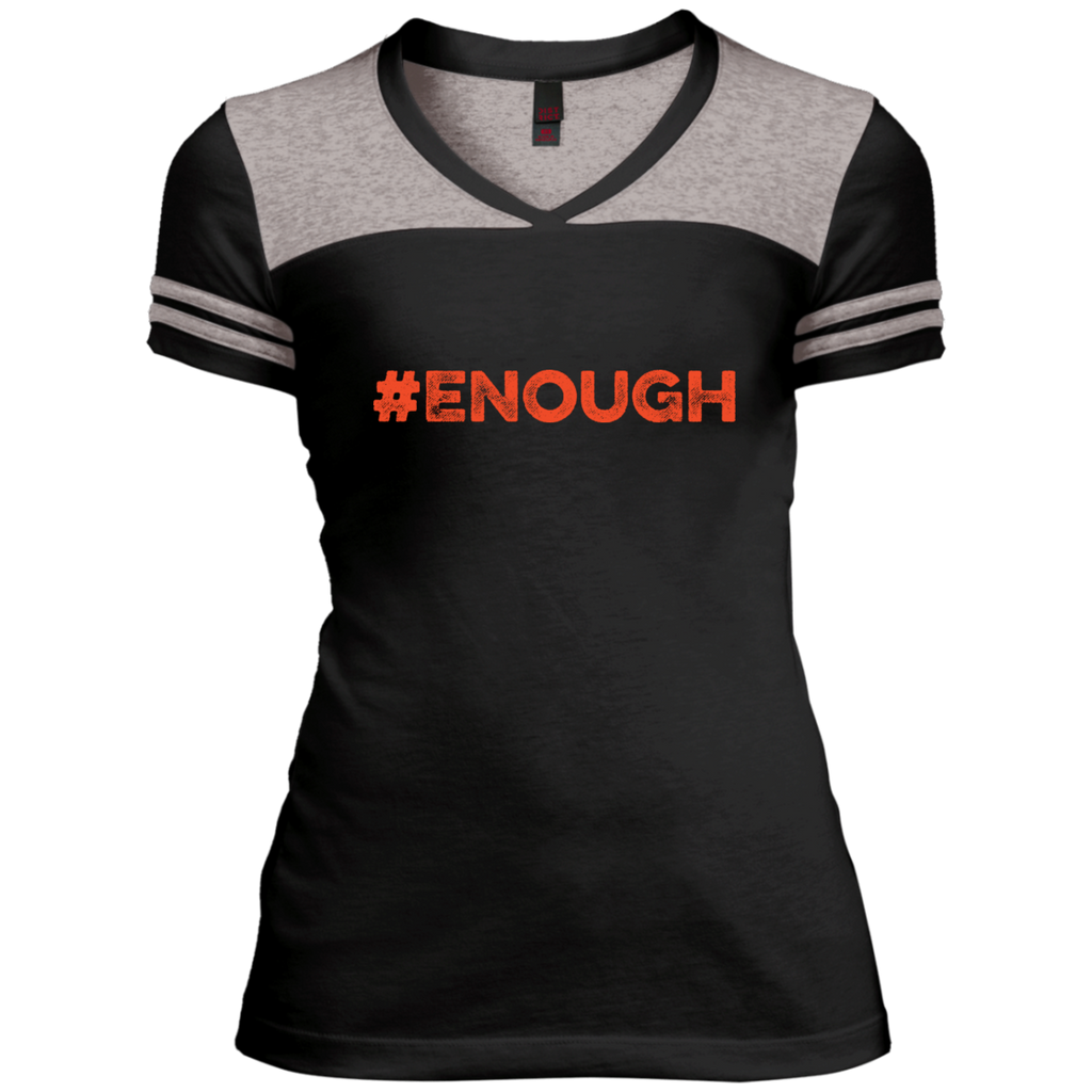 #Enough Orange Juniors Varsity V-Neck Tee
