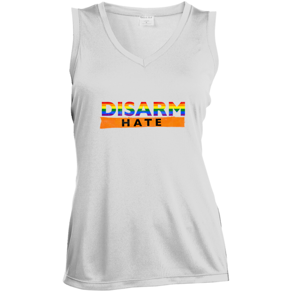 Disarm hate-Ladies Sleeveless Moisture Absorbing V-Neck