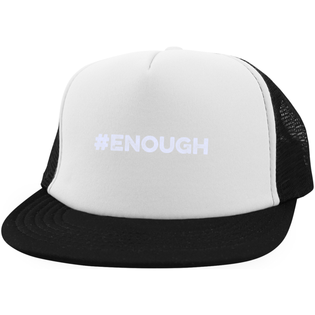 Enough White Trucker Hat with Snapback
