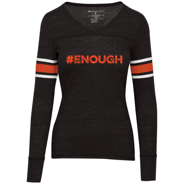 #Enough Orange Juniors' Vintage V-neck Tee