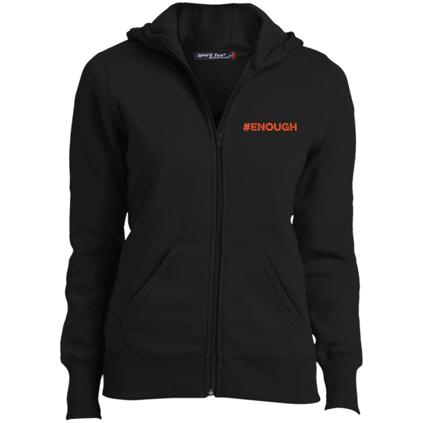 #Enough Orange Ladies Full-Zip Hoodie
