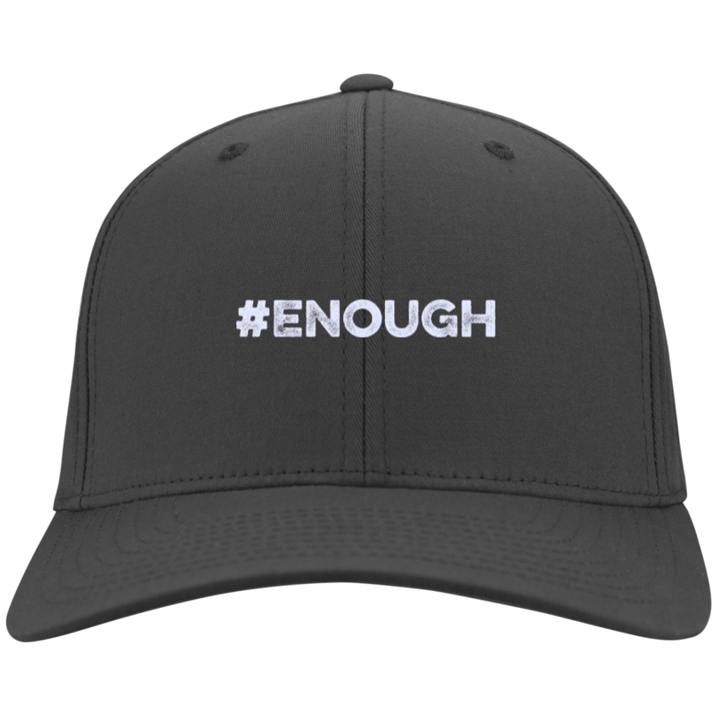 #Enough White Twill Cap