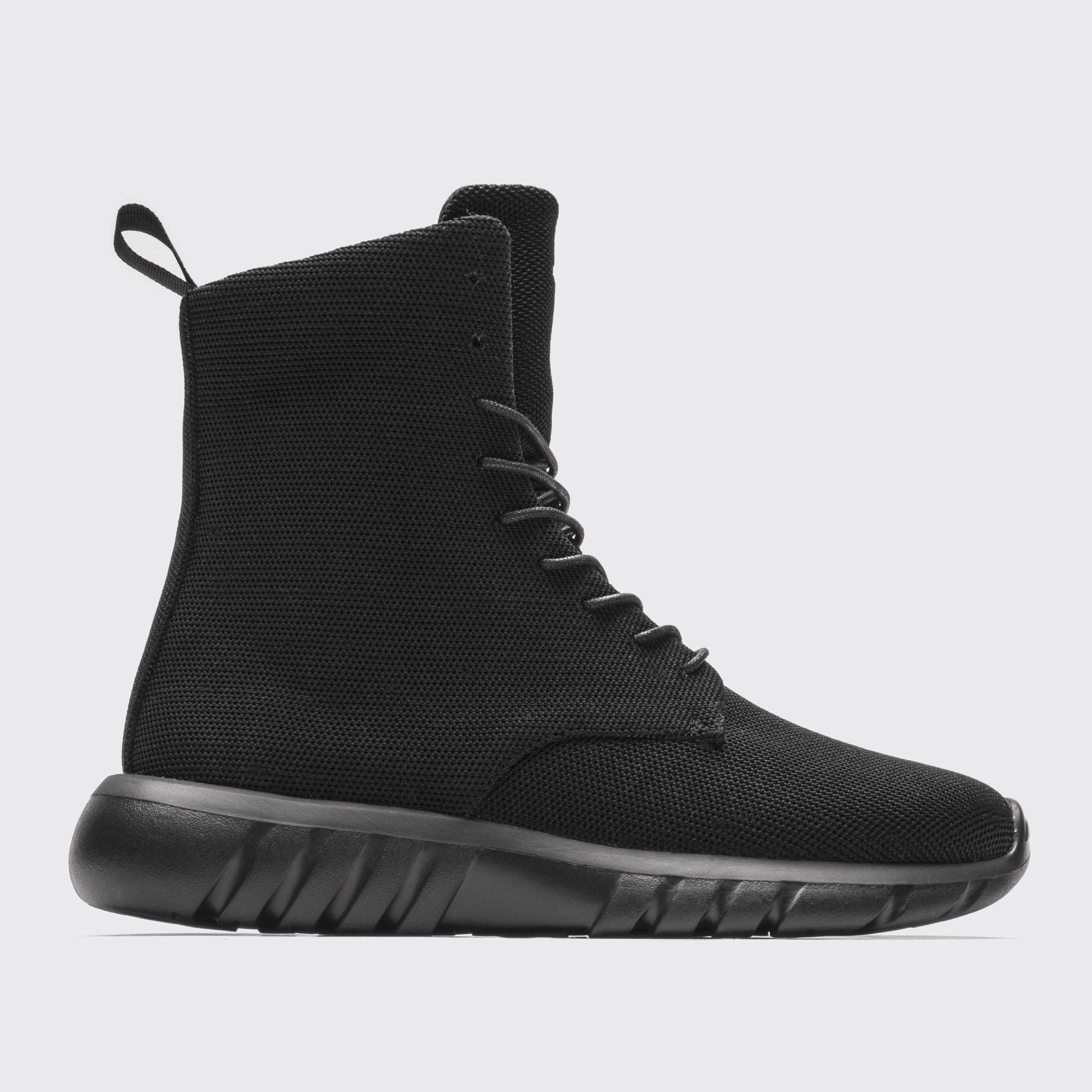 f252a9f13de93 NINJA | Black Knit - Micro Knit High Top Boot on Runner Sole ...