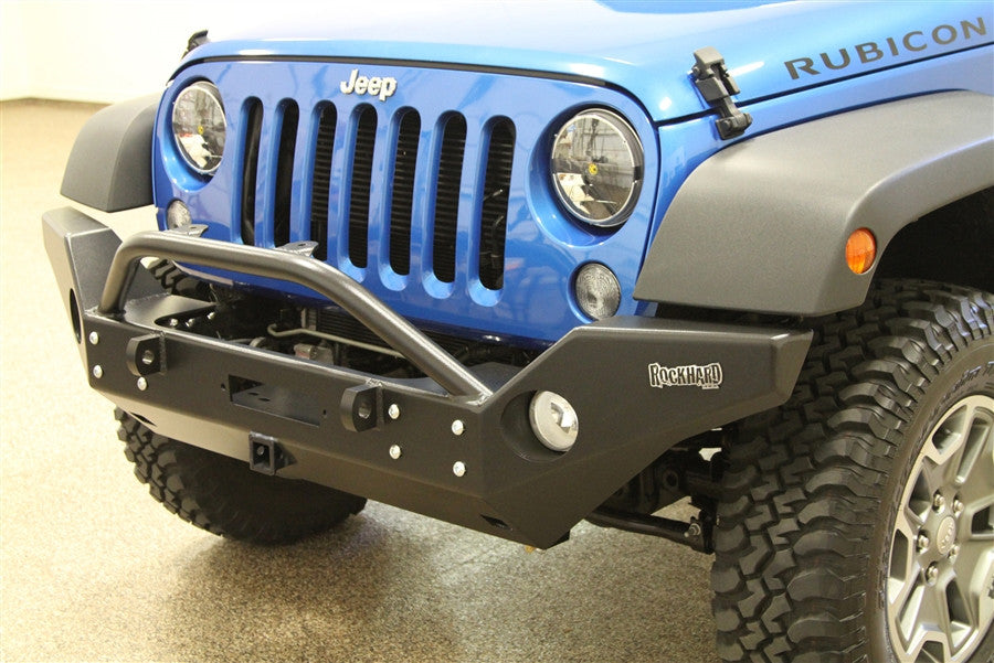 Rock Hard 4x4 Jeep JK 07+ Front Full Width Bumper w/  Lower Vinch Mount and Receiver