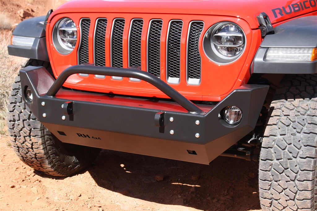 ROCK HARD 4X4™ ALUMINUM PATRIOT SERIES MID-WIDTH FRONT BUMPER FOR JEEP WRANGLER JLU / JL 2018 + [RH-90249]