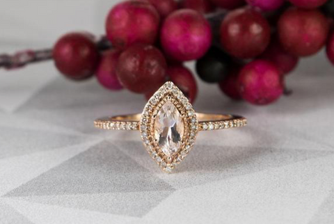 morganite ring marquise with halo