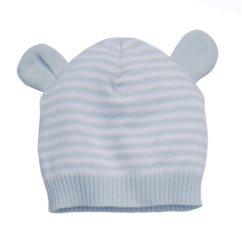 Blue Stripe Knit Hat w/ Ears