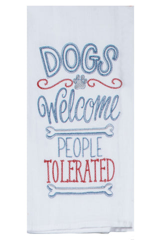 Dogs Welcome Flour Sack Towel