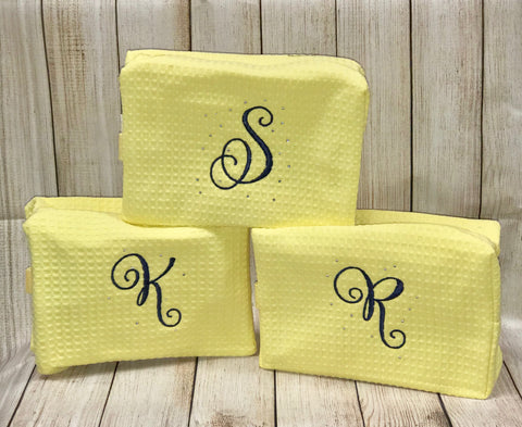 Waffle Weave Cosmetic Bag - Monogrammed
