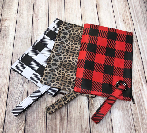 Large Clutch Bag - Leopard and Buffalo Plaid