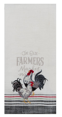 Farmers Market Embroidered Tea Towel